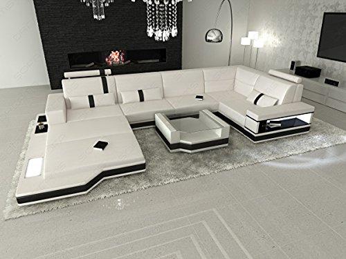 Sofa Dreams Leder Wohnlandschaft Messana in der U Form mit Ottomane