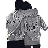 "JWBBU Couple Pull Hoodies Sweat-Shirt Amants Chemise Hiver Cool Veste Casual Tops Imprimer "" HIS QUEEN "" "" THE KING ""- Une Pièce"