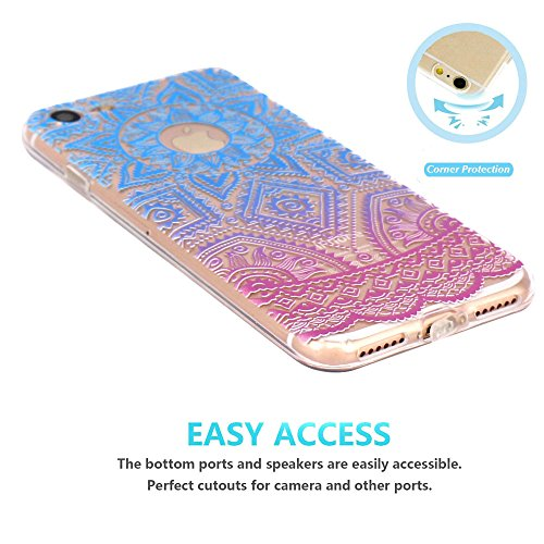 Coque iPhone 7 Silicone Étui Housse JIAXIUFEN Transparent Souple TPU Protecteur Coque pour iPhone 7 - Pink Circle Flower Tribal Mandala Henna-Blue Purple