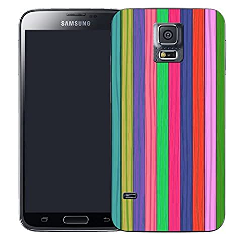 Mobile Case Mate Samsung Galaxy S5 i9600 clip on Silicone case cover bumper and Stylus pen - RAINBOW STRIPE pattern