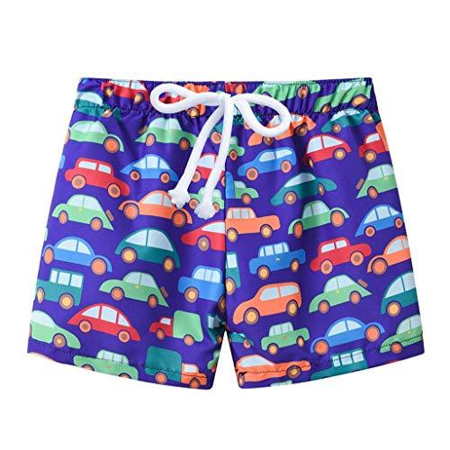 LABIUO Kids Junge Strandhosen, Sommer Drucken Bademode Badeanzug Beiläufig Kurze Hose Strandhosen Sieben Farben Fünf Größen Zur Auswahl(Dunkelblau,5-6 Jahre) -