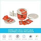 Homecare Hexa Kitchen master BPA Free Vegetable Chopper - Food Processor with Convenient Pull Cord Mechanism attached Lid, Plastic Container and 5 Different Stainless Steel Blades.