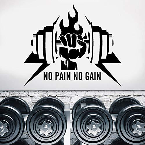 Gym Wand Vinyl Aufkleber Keine Schmerzen Kein Gewinn Sport Fitness Motivation Zitat Benutzerdefinierte Aufkleber Inspirational Poster Wandbild Kunst Decor 50X42CM