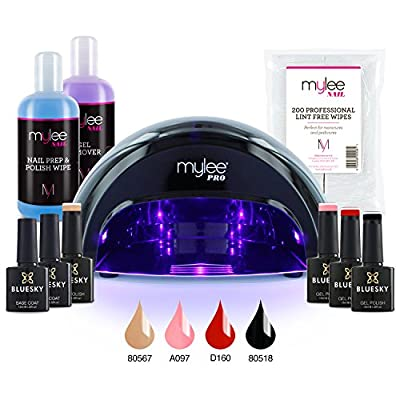 Mylee Professional Gel Polish Complete LED Kit Including 4 Bluesky Colours, Top & Base Coat, Mylee PRO Salon Series Convex LED Lamp, Mylee Prep & Wipe, Gel Remover and 200 Lint Free Wipes