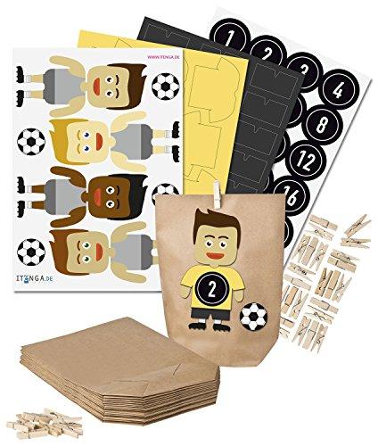 itenga DIY Fußball-Adventskalender Set zum Basteln (gelb/schwarz)