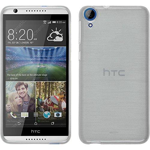 PhoneNatic Case für HTC Desire 820 Hülle Silikon weiß brushed Cover Desire 820 Tasche + 2 Schutzfolien