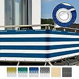 Sol Royal Balkon-Sichtschutz SolVision 500x90cm - witterungsbeständige Balkon-Umspannung Windschutz in Blau-Weiß
