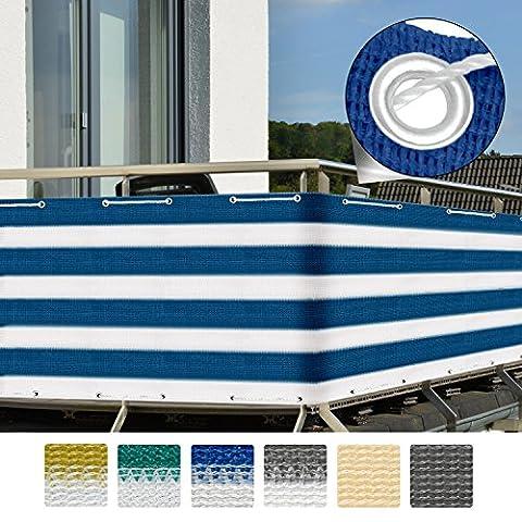 Sol Royal Brise-vue pour balcon Terrasse à oeillets SolVision Protection Regards Vent Soleil 5x0.9m - Bleu