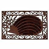 Esschert Design Schmutzfangmatte, zerbino motivo riccio in ghisa con inserto in cocco, circa 73 cm x 46 cm