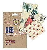 Bee Wrap par Anotherway Pack Tropical - Emballage Alimentaire Réutilisable de Cire d'abeille - Lot de 3 : 1 Petit, 1 Moyen et 1 Grand | Fabriqué en France MyBeeWrap