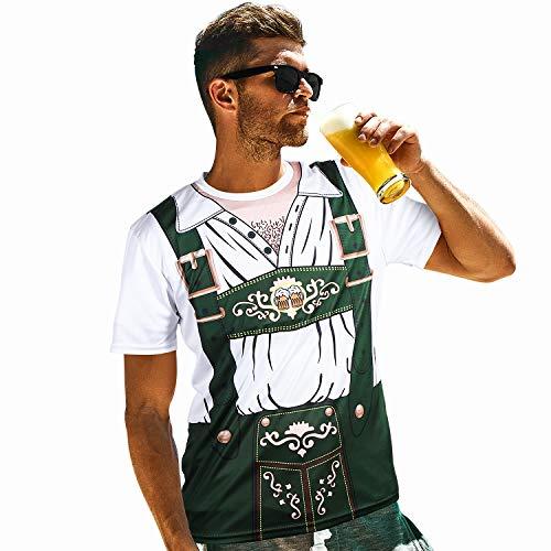 Blulu Oktoberfest Herren 3D Kurz Ärmel T-Shirt für Bayerisches Bier Fest Kostüm (M) (Deutsches Lederhosen Kostüm Muster)