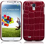 Samsung Galaxy S4 i9500 PU Leather Back Cover / Case / Shell / Shield - Red Croc Skin