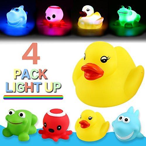Juguete de Ducha, que Ppuede Parpadear Luces Coloridas(4 paquetes),Ilumina las Duchas de Bebé Juguete de Baño para el Cuarto de Baño para Niños,Chicos,Chicas, Bebés, Patos Pulpo Rana Tiburón de Goma