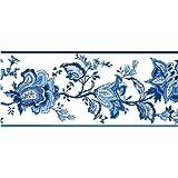 Fine Decor - Cenefa para pared (125 mm), color azul y blanco