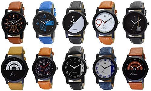 Om Designer Analogue Multi Color Dial Men's & Boy's Watch Pack of 10 (Family Pack-WTC-2452) Bulk Combo