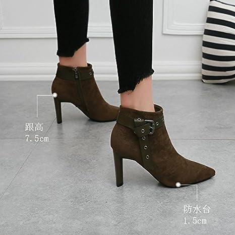 KHSKX-Martin Wies Mode Schuhe Gürtel Mit Groben Mosaik - Stiefel Beauty - Seite  Reißverschluss Hochhackige Stiefel Flut: Amazon.de: Sport & Freizeit
