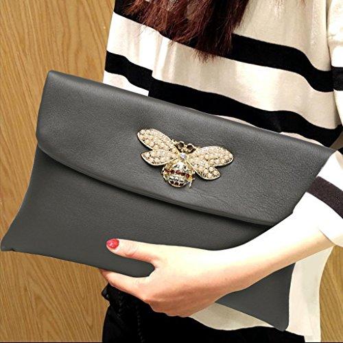 Home Monopoly Borsa a mano di grandi borse della borsa di modo della borsa di temperamento di modo / con la cinghia di polso, cinghia di spalla ( Colore : Nero ) Grigio