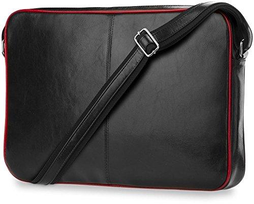 elegante Herren-Aktentasche Laptoptasche klassisches Design Naturleder Schultasche mit Laptopschutz Schwarz/Rot