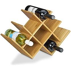 Relaxdays–Botellero de madera de bambú de alta calidad, tamaño: 31,5x 47x 16,5cm botella soporte para hasta 8botellas, botellas estante de madera para botella de vino soporte para botellas de vino estándar, Natural marrón
