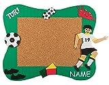 Unbekannt Bastelset Pinnwand Kork incl. NAME - Fußball Sport Ball - Korkplatte mit 6 Pins - Wandtafel Pinboard für Kinder Jungen Fußballer