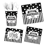Foxxeo 40 Teile Black & White Geburtstagsdeko Set 8 Personen Birthday Party-Set Deko