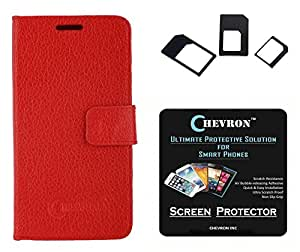 Chevron Premium Leather Corporate Class Flip Cover Case For Xiaomi RedMi Note With HD Screen Guard & Multi Sim Adapter (Red)