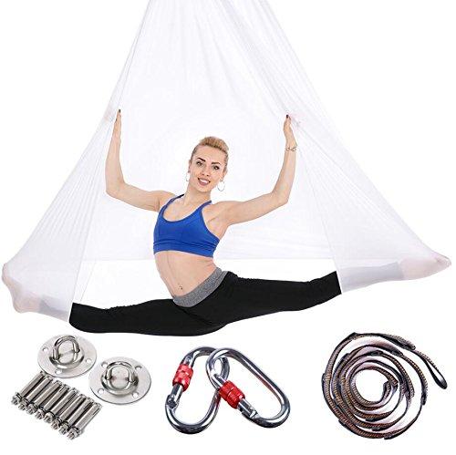 Brinny Yoga DIY Silk Pilates Premium Aerial Silks Equipment Aerial Yoga Tuch Aerial Silk elastische Yoga Hängematte mit Stoff Zubehör 5 Meter (Weiß)