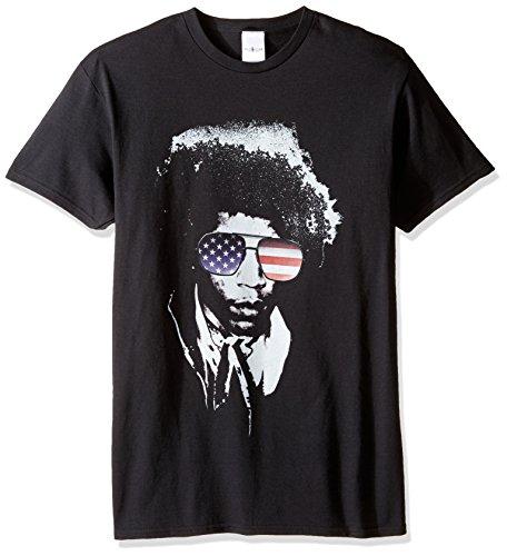 Jimi Hendrix Herren T-Shirt mit amerikanischer Flagge - Schwarz - 5X-Groß