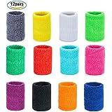 Czemo 24 Stück Schweissband Handgelenk Baumwolle Sport Wristbands Absorbierende Schweißbänder für Männer, Frauen und Kinder
