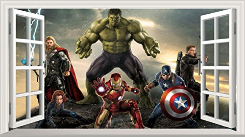 Marvel Avengers Superheld V305selbstklebend 3D Magic Wandtattoo Fenster Poster Wall Art Größe 1000mm breit x 600mm tief (groß) (Marvel Avengers-fenster Aufkleber)