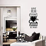 La lettura è sogno con gli occhi aperti vinile arte della parete della decalcomania dei libri appuntamento biblioteca lettura adesivi ispiratori casa