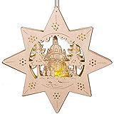 Beleuchtetes, weihnachtliches Fensterbild aus Holz, Stern mit Kirche, LED