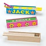 Bastelset - Stiftebox aus Holz für Schreibwaren - für Kinder zum Basteln und Bemalen - 4 Stück