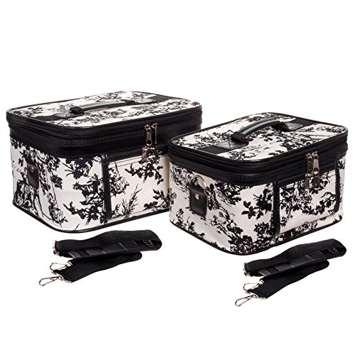 2-Piece Set CountrySide White Print Cosmetic Cases by Gen SH