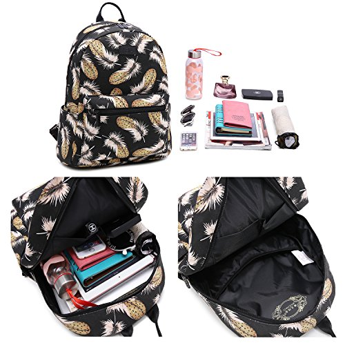 Tibes Fashion Wasserdichte Frauen Daypack Netter Rucksack für Mädchen PU Lederschul Taschen Trekking Rucksäcke Weiß B Schwarz L