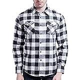 Xmiral Herren Bluse Art und Weise beiläufige Langarmhemd Taschen Lattice Bedruckte T-Shirt (XS,D-Weiß) Test