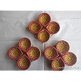 SI Marketing Design Colour Handmade Earthen Clay / Terracotta Decorative Dipawali / Diwali Diya / Tealight / Oil Lamps For Pooja [Piece Of 12] (colour May Vary)