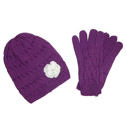 CTM - Ensemble bonnet, écharpe et gants - À Fleurs - Femme Violet