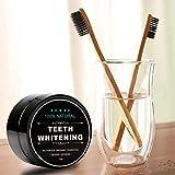 Ksruee Dents de charbon actif blanchissant la poudre ensemble avec la brosse à dents en bambou de charbon de bois