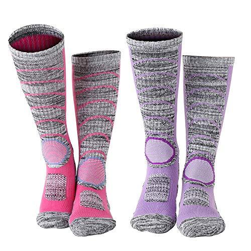 Vordas 2 pacchi calze da sci termiche da donne per lo sci, escursioni in montagna (formato: 34-37) - un paio di rosa, un paio di viola
