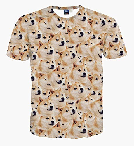 XIAOBAOZITXU T-Shirt Unisex-Paar-Kostüm 3D-Digitaldruck Akita Gelb Cool Lustig Lose Sportmode Großes T-Shirt XL -