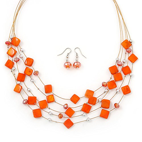 orange-square-shell-crystal-floating-bead-necklace-drop-earring-set-52cm-length-6cm-extension