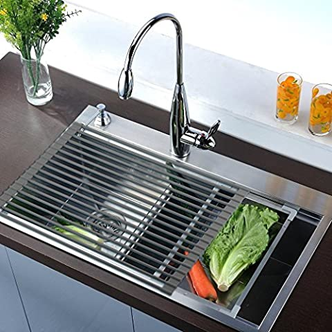 Over the Sink, Kitchen Drainer, OUTAD Roll-Up Dish Drying Rack Multipurpose Foldable Rack Kitchen Dish Drainer (Deep