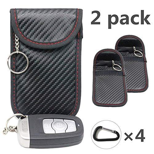 Etui de clé de voiture 2X Keyless Go protection FOB bloquant le signal Faraday sac protection contre les radiations portefeuille portefeuille - WiFi, GSM, LTE, NFC et RFID/noir