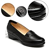Cestfini Ladies Formal Synthetic Leather Flat Shoes, Comfortable Classic Bussiness Black Shoes For Women