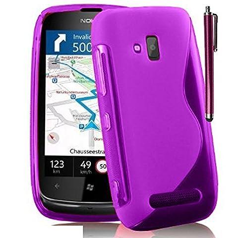 Nokia Lumia 610 Étui HCN PHONE® S-Line TPU Gel Silicone Coque souple pour Nokia Lumia 610 + stylet - VIOLET