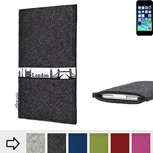 flat.design Filzhülle SKYLINE mit Webband London für Apple iPhone 5s - individuelle Handytasche aus 100% Wollfilz (anthrazit) - Case im Slim fit Design für Apple iPhone 5s anthrazit