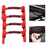 YONGYAO 4 Stück Red Roll Bar Car Grab Handle Kit aus Dem Straßenwagen Top Handle Für Jeep Wrangler