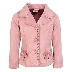 Cutecumber Girls Suede Embellished Peach Coat. 2295A-PEACH-18