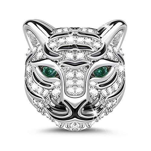 GNOCE Tierkopf Bead Charms 925 Sterling Silber Charms Schmuck mit Zirkonia Bijouterie für Frauen Männer Mädchen (Tiger) (Armband Pandora Für Männer)